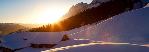 Sonnenuntergang am Hochkönig im Winter